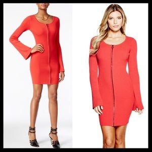 guess // abigail zip red bell sleeve sweater dress